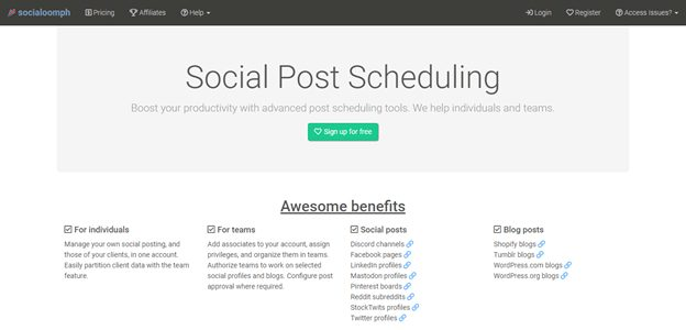 SocialOomph scheduling