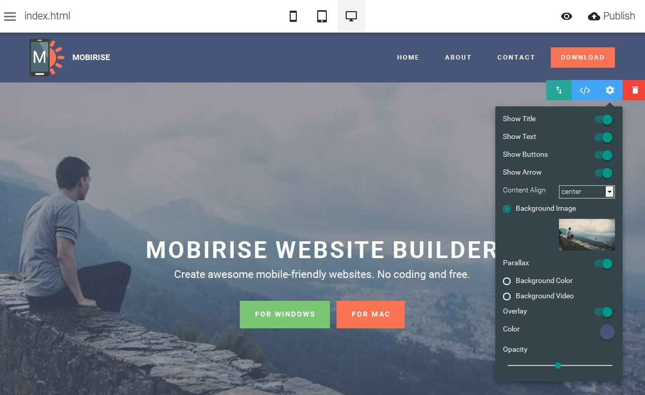 Mobirise home page