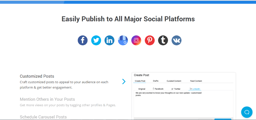 socialpilot easily publish to all major social platforms