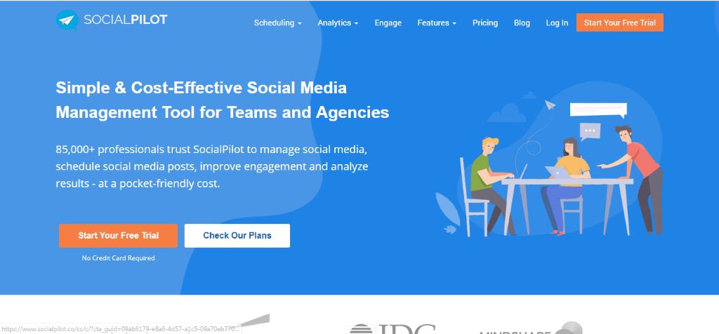 socialpilot home page