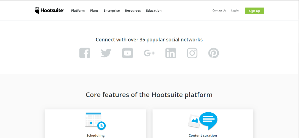 Hootsuite core features scheduling and content creation