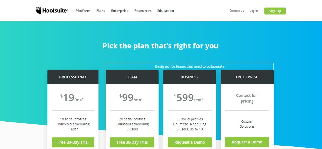 Hootsuite pricing plans