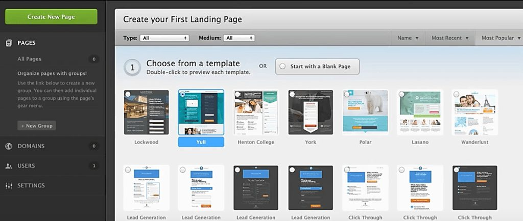 unbounce create a new landing page
