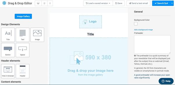 sendinblue drag and drop editor