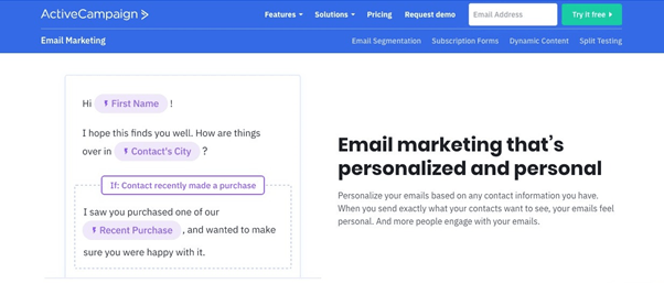 ActiveCampaign personalized email marketing