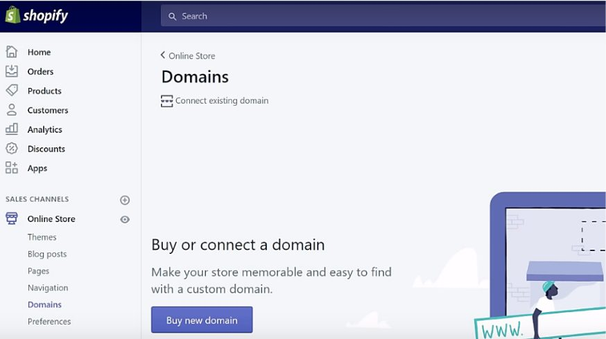 shopify domains for online store