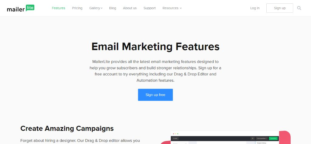 mailer lite email features