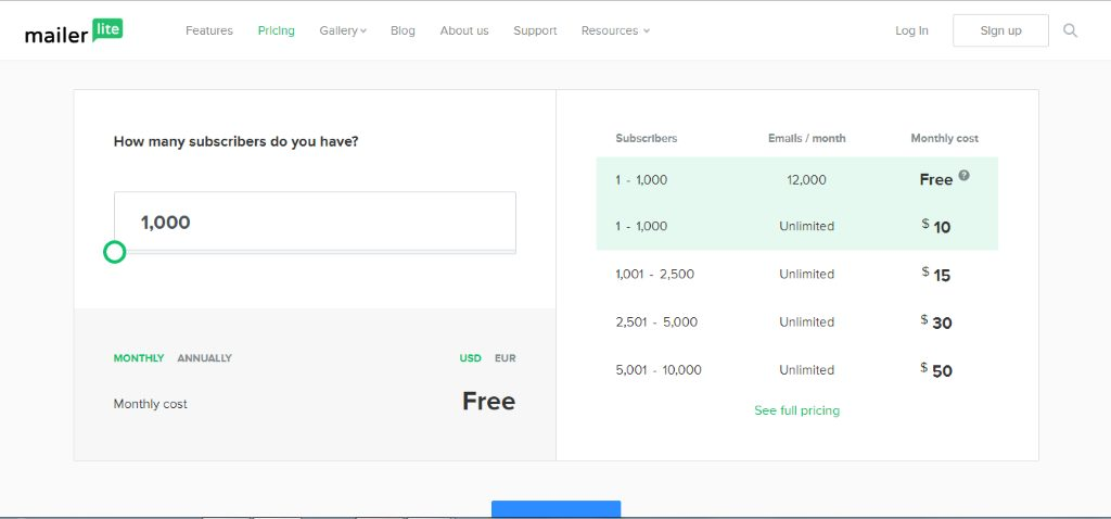 Mailerlite pricing table