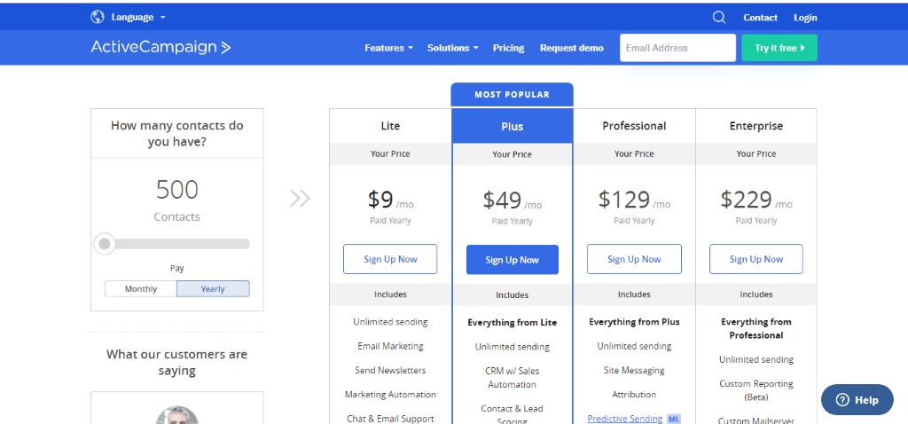 ActiveCampaign Pricing table