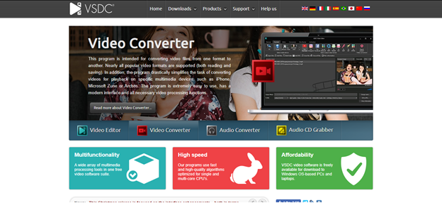 VSDC Free Video Editor home page
