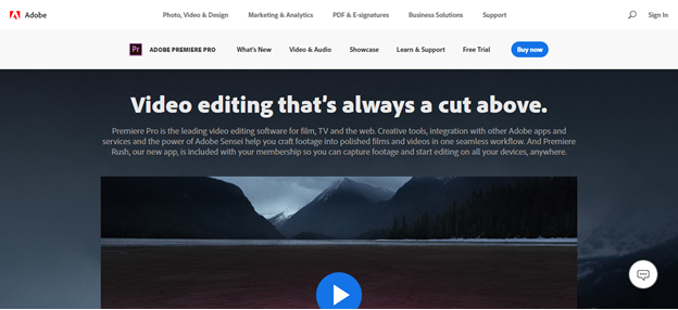 Adobe Premiere Pro home page
