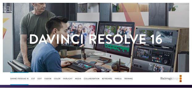 DaVinci Resolve home page