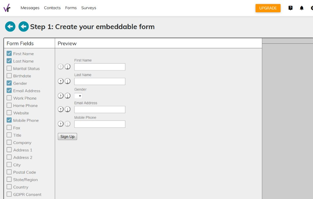 Create your embeddable form