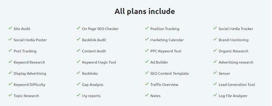 SEMrush all plans include these features