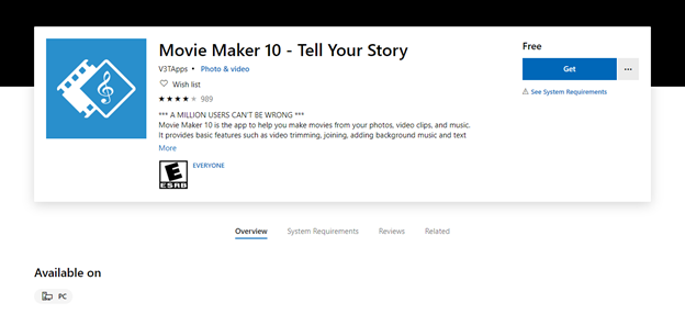 Windows Movie Maker get it for free