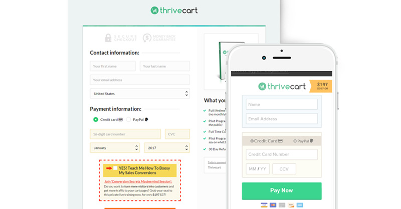 thrivecart contact form on desktop and mobile