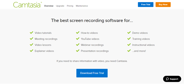 camtasia screen recording software features offered