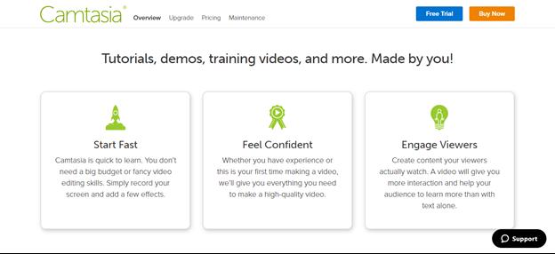 Camtasia offers tutorials and demos