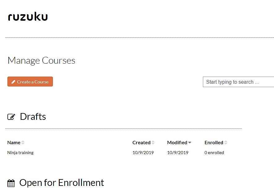 Ruzuku Manage Courses