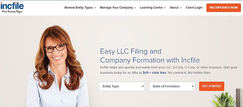 Incfile home page