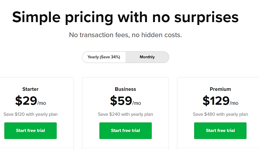 Sellfy pricing table