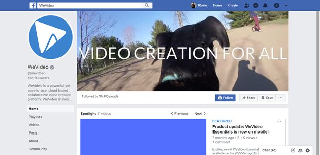 wevideo facebook page