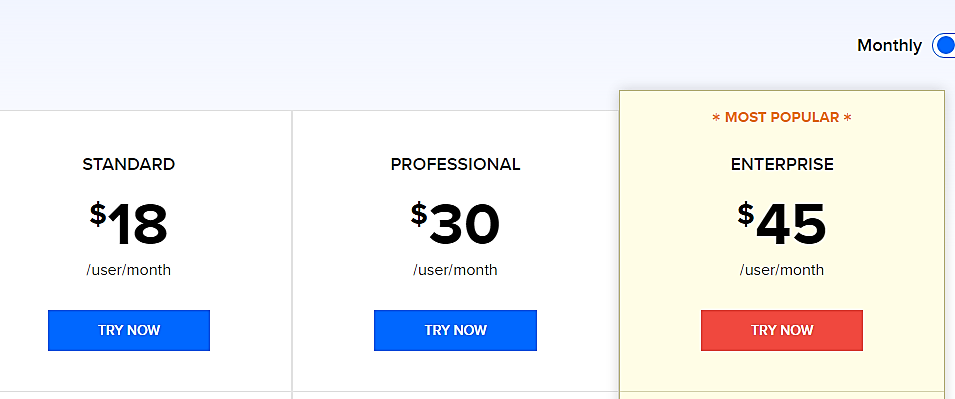 Zoho Pricing table
