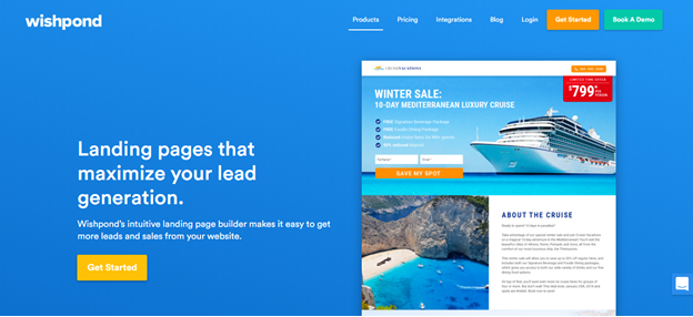 create landing page with wishpond