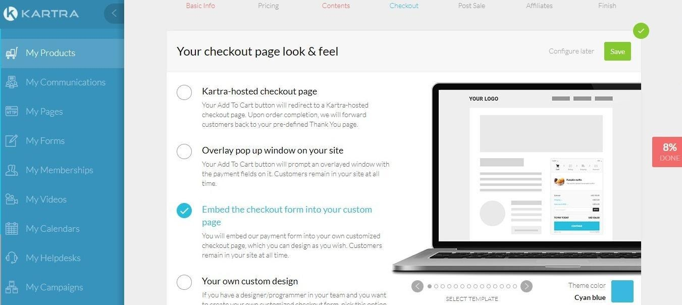 Kartra  checkout page look and feel