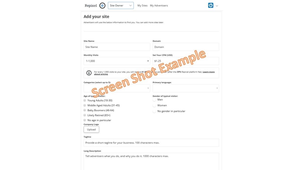Repixel Add Site Screen Shot