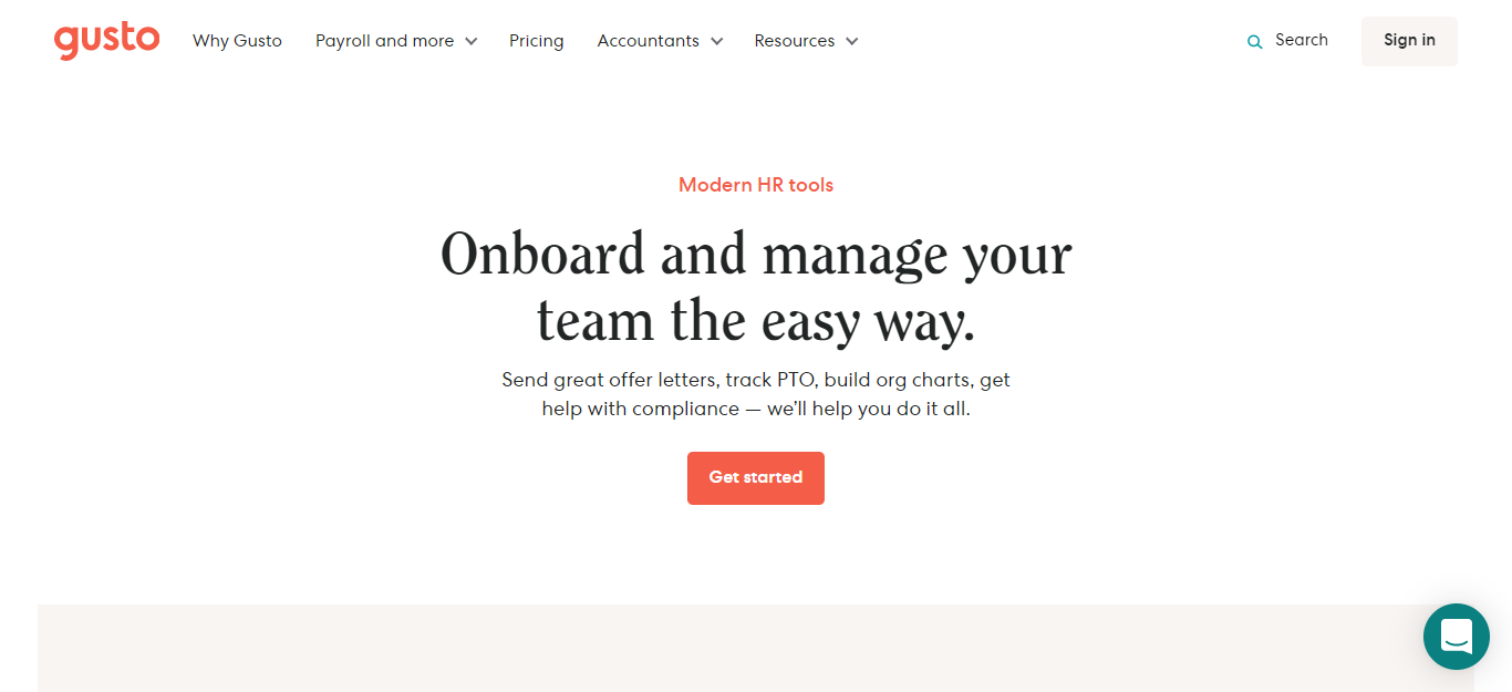 Team and Onboarding gusto
