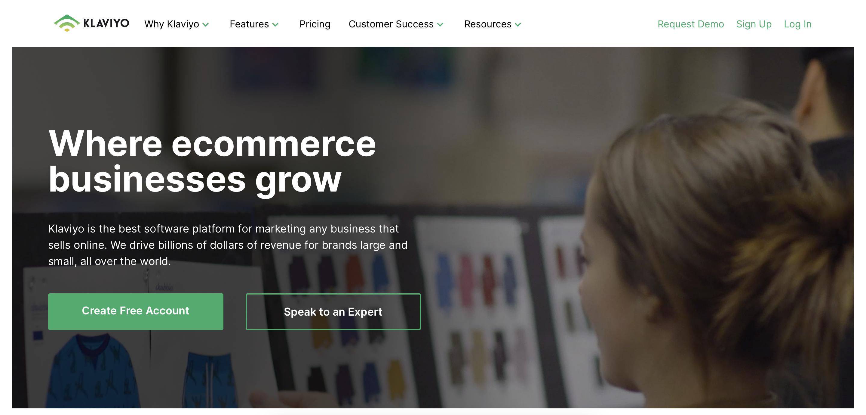 Klaviyo email marketing tool homepage