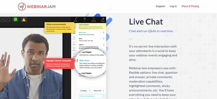 webinarjam live chat