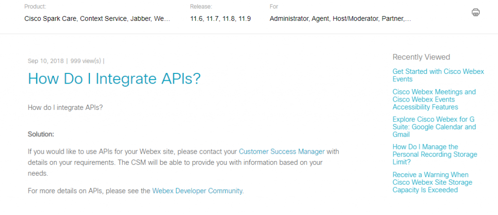Cisco Webex API Information