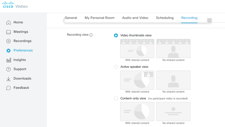 Webex Recording Functionality For Content Sharing and CMS Managment Screenshot