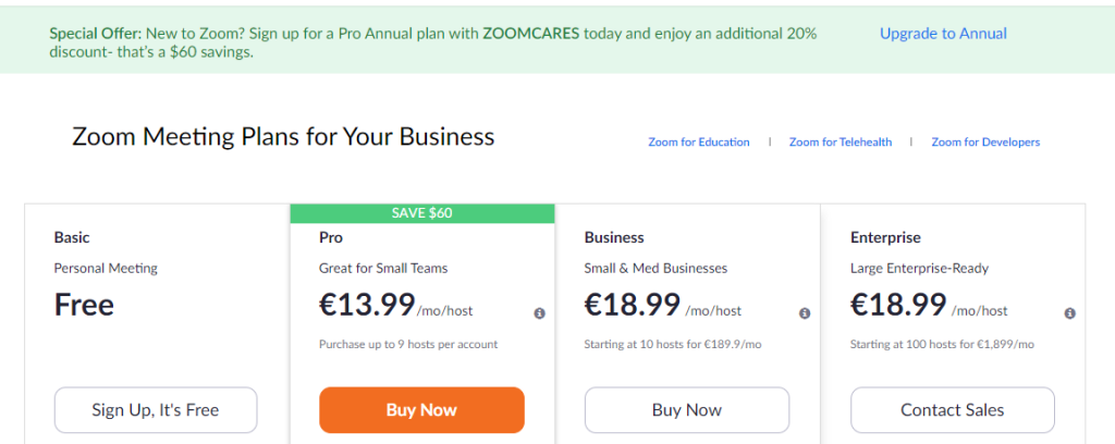 Zoom Pricing Plans