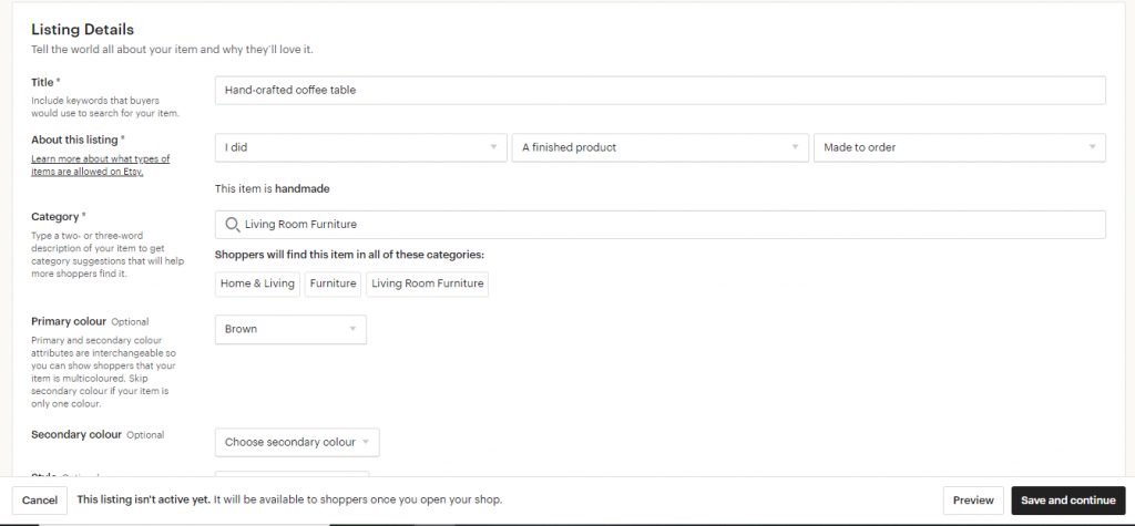 This screenshot displays the steps involved in creating a product for your Etsy store.