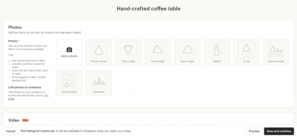 A screenshot of Etsy's product design options displaying image variants available. This level of design is basic when compared with that of Shopify