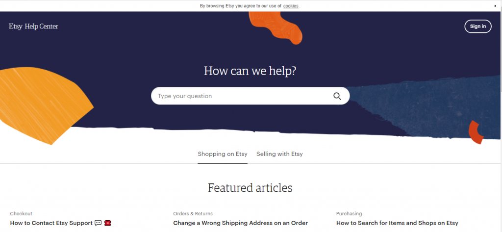The Etsy help centre because it is a useful resource for sellers.