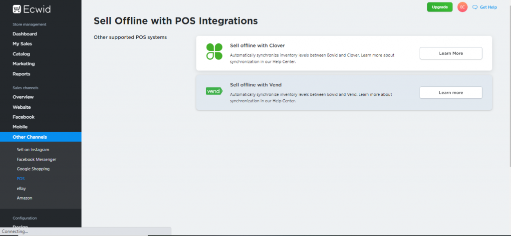 A screenshot taken of Ecwid's POS channel tab to give readers an idea of what to expect in terms of POS integrations available.