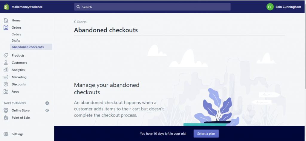 Shopify Dashboard's Abandoned Checkouts Tab