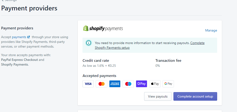 A screenshot of Shopify Payment's initial setup step