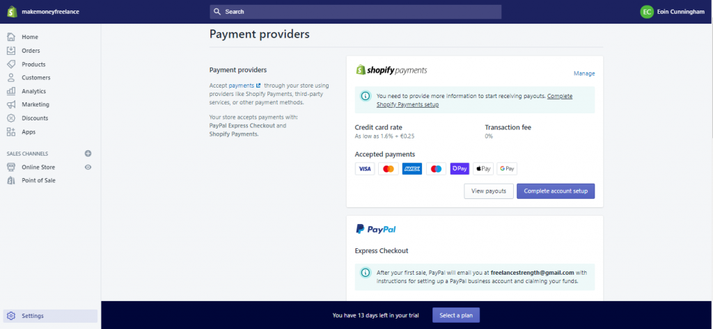 A Screenshot to Highlight what it looks like Setting up Shopify Payment/PayPal for your online store