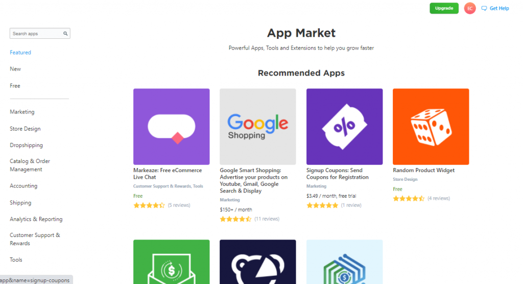 A screenshot of Ecwid's App Store showing the various app themes available to users.