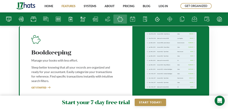17hats features Bookkeeping