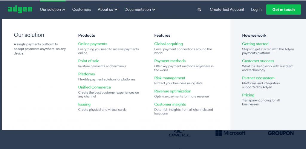 Adyen payments solution for enterprise level sellers.