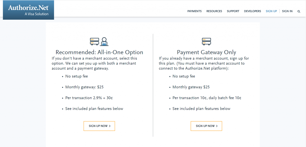 Screenshot of Authorize.net's pricing.