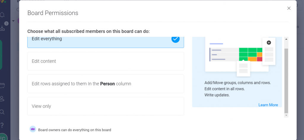 Board permissions with Monday.com