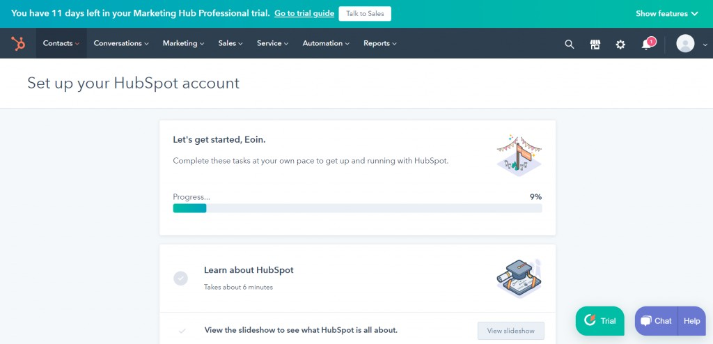 HubSpot's Landing Dashboard during Onboarding. Which, will display what readers should expect.