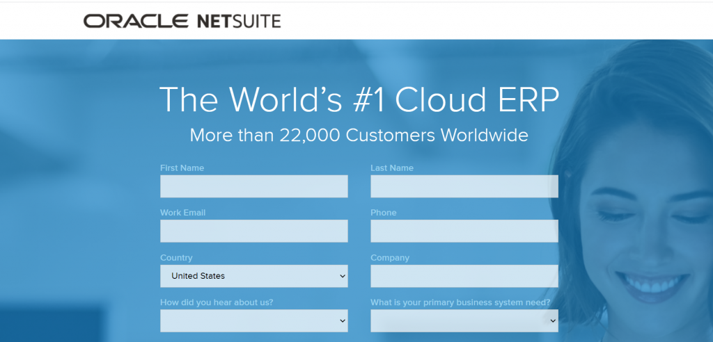 Showing viewers the form used to sign up for Netsuite's free product tour.
